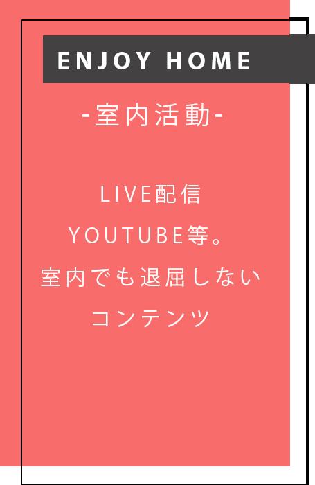 enjoy home -室内活動- LIVE配信YouTube等。室内でも退屈しないコンテンツ